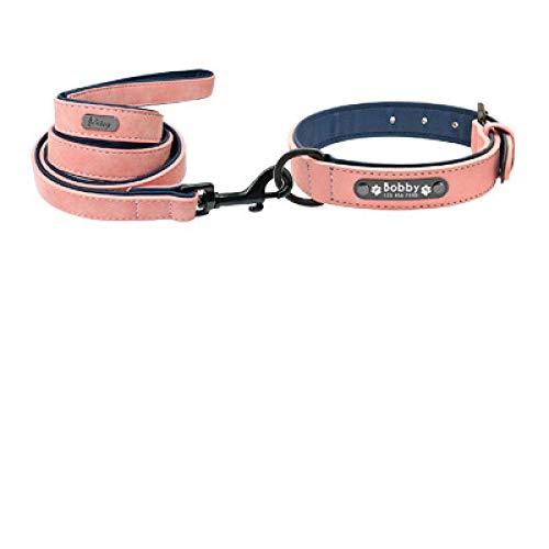 Collar de cuero personalizado para perros pequeños, medianos y grandes, para mascotas, arnés XXL rosa