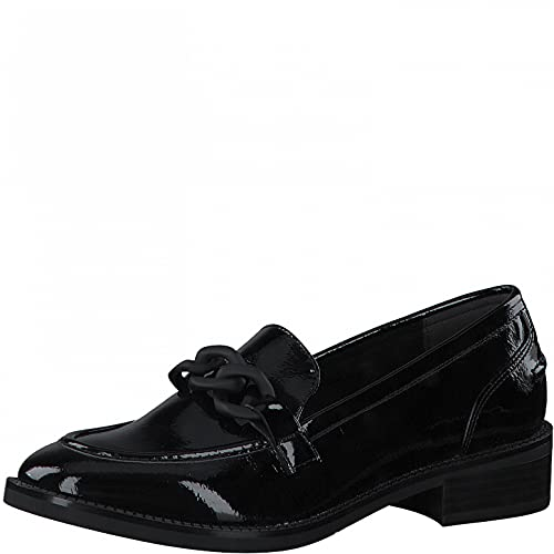 Tamaris Mujer Mocasines, señora Zapatillas,Pantuflas,Comfort Lining,TOUCHit,Zapatillas,Zapatos universitarios,Mocasines,Black Patent,42 EU / 8 UK