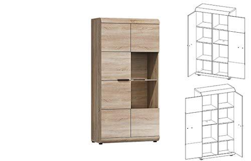 Furniture24 Vitrine LINK, Standvitrine, Wohnzimmerschrank, Vitrinenschrank mit 2 Türen (Mit 1 pkt. LED Beleuchtung)