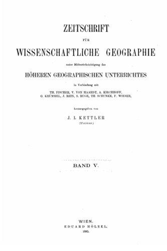 Zeitschrift fur wissenschaftliche Geographie - Band V.: 5