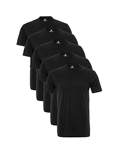 Lower East Camiseta Manga Corta Hombre, Pack de 5, Negro, M