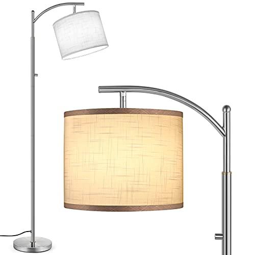 Outon Lámpara de Pie LED, 3 Temperaturas de Color, Moderna Lámpara con Interruptor Giratorio, Lámpara de Pie Ajustable con Estructura de Lino Blanco, Pantalla para Salón, Dormitorio, Oficina