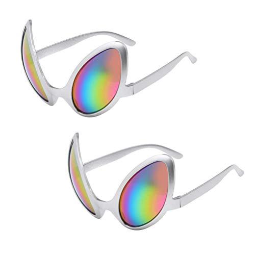 Toyvian 2pcs Alien Brille Neuheit Brille Silber Kunststoff Alien Sonnenbrille für Erwachsene Kinder Gastgeschenke