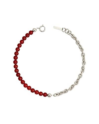 ZhaoZZ Collares Mujer Joven, Cornalina Colgante, Collar Simple con Círculos Personalizados, Perlas Oscuras, Dulces Y Frescas, Rojo De Ónixstein, Cinta De Corona (Color : B)