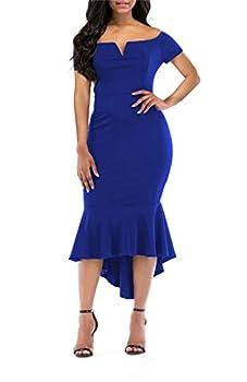 onlypuff Women s Cold Shoulder Bodycon Mermaid Hem Party Midi Dress Blue Large
