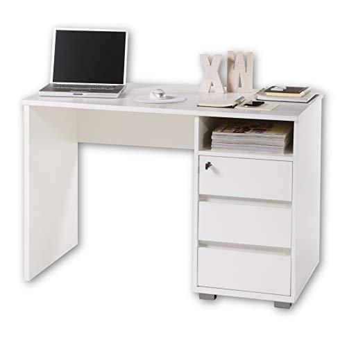 PRIMUS 1 Schreibtisch mit Schubladen, Weiß - Bürotisch Computertisch fürs Homeoffice mit Stauraum und offenem Ablagefach - 110 x 75 x 65 cm (B/H/T)