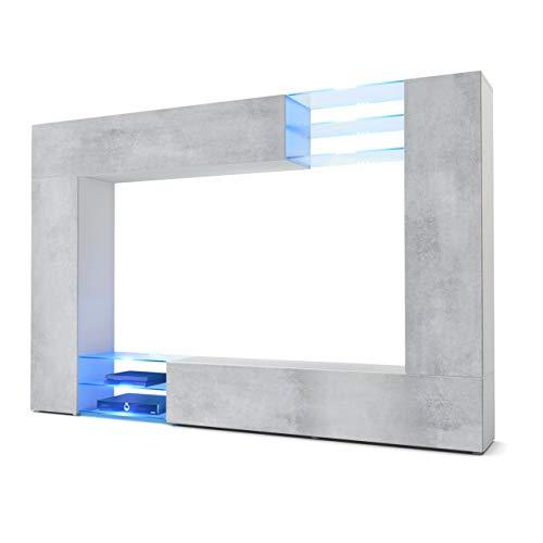 Vladon Wohnwand Anbauwand Mirage, Korpus in Weiß matt/Fronten in Beton Oxid Optik inkl. LED Beleuchtung
