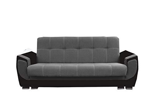 mb-moebel Modernes Sofa Schlafsofa Kippsofa mit Schlaffunktion Klappsofa Bettfunktion mit Bettkasten Couchgarnitur Couch Sofagarnitur 3er Lilly (Grau + Schwarz (feiner Webstoff))