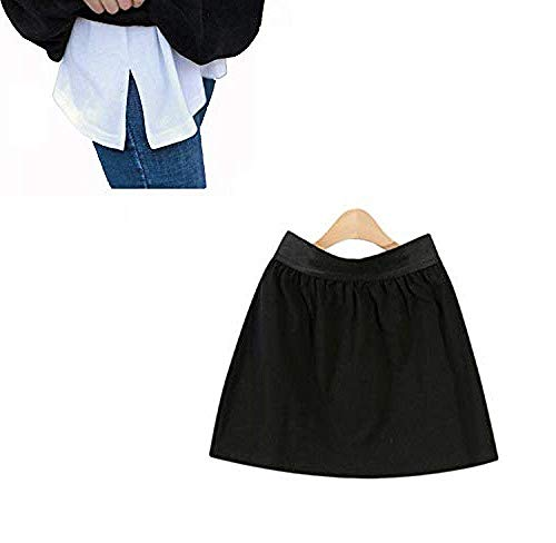 Verstellbare Schichtung Fake Top Lower Sweep Set Vielseitiger Fake Hem Rock halblanger Splitting Eine Version Minirock für Pullover, Sweatshirt, Jacke, Mantel,Black
