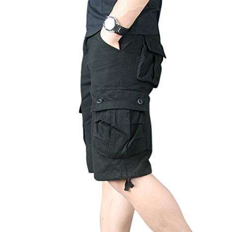 Hommes Shorts Bermudas Homme Pantalon Cargo De Style Militaire, Baggy Casual Grande Taille Pantacourt Cargo Multi Poche Short Sports,Noir,38 (Tag size 30)