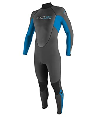 O'Neill Youth Reactor 3/2mm Back Zip Full Wetsuit, Graphite/Bright Blue/Graphite, 4
