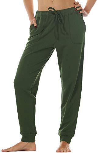 icyzone Damen Hose Jogginghose Lang Sweathose - Sporthose Trainingshose Running Gym Pants (L, Army)