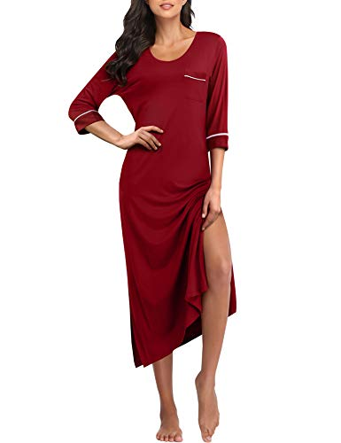 COLORFULLEAF Long Nightgowns for Women Full Length Nightdress Soft Knit Nightshirts with Pockets (Wine Red, S)