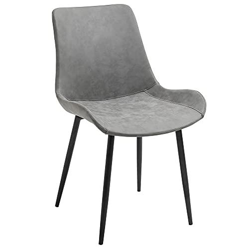 HOMCOM Essstuhl moderner Küchenstuhl mit Rückenlehne Metallbeine für Empfang Wohnzimmerstuhl Kunstleder Schaumstoff Metall Grau 51,5 x 59 x 82 cm