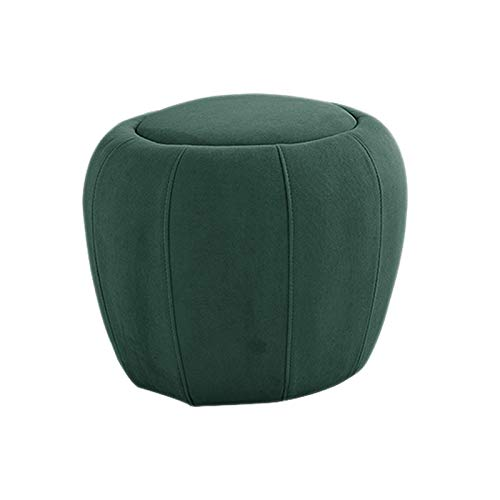 Velvet Round Footstool Ottoman Pouffe Foot Rest, Creative Low Sofa Bench, Coffee Table Chair, Modern Soft Upholstered Seat, Solid Wood Frame, for Home Living Room,Green