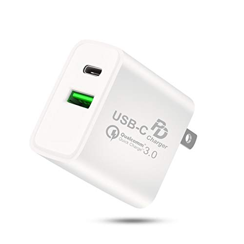 USB C Wall Charger, 18W USB PD Charger Type c Fast Wall Charger Dual Ports Compatible with iPhone 11/Xs/XS Max/XR/X/8/7/6/Plus, iPad Pro/Air 2/Mini 4/ Samsung Galaxy Note8 /S9/S8 /S8+ and More.