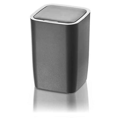 AMARE Automatischer Sensor Kosmetikeimer, Mülleimer mit 10,5 L Volumen, eckig in Grau, ca. 21 x 21 x 30 cm