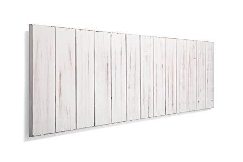 SUENOSZZZ-ESPECIALISTAS DEL DESCANSO Cabecero de Cama de Madera ANETO Color Blanco Vintage para Pared. Cabecero de Tablas Verticales. Estilo Vintage, para Camas de 135