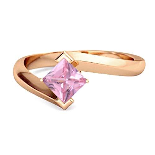 Shine Jewel Multi Elija su Anillo de abrazar con Piedras Preciosas 925 Libra esterlina Anillo De Plata De 0,50 Ctw Chapado En Oro Rosa para Mujer (13, topacio Rosa)