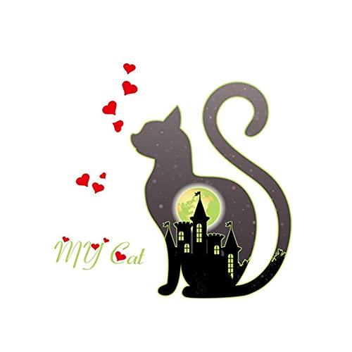 CHUNMA Luminoso My Cat City Love Wall Etiqueta de la Pared Resplandor en la Sala de Estar Oscuro Sala de la casa Decoración de la casa Vinilas de la Pared Etiquetas engomadas Fluorescentes