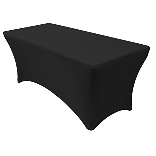 SUPERIOR QUALITY Rectangular Stretch Tablecloth Pick from sizes 4ft, 6ft, 8ft (Black)-Spandex Tight Fit Table Cover for parties, trade shows, Djs, weddings and events of ALL kinds. (6 Foot)