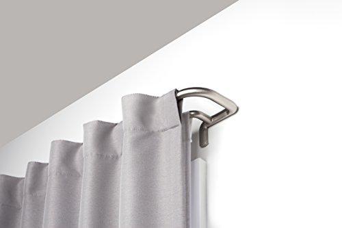 Umbra Twilight Double Curtain Rod Wrap Around Design for Blackout or Room Darkening Panels, 28-48 Inch (71-122cm), Nickel