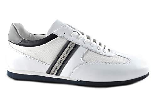 Sneackers Uomo Harmont&Blainein Pelle camoscio e Tessuto Bianco/Bianco EFM201200 Scarpa Traspirante Made in Italy. Primavera Estate 2020 EU 43