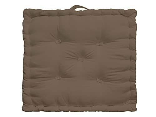 Tiny Break - 100% algodón - Cojín grande para suelo - Interior - Jardín - Silla de comedor - Cojín de asiento - 50 x 50 x 10 cm cuadrado - Visón