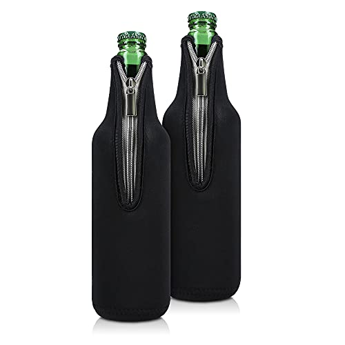 kwmobile Set of 2 Neoprene Bottle Coolers Sleeves for 330-500ml Bottle - Keep Beer, Soda, Soft Drinks Cool - Black