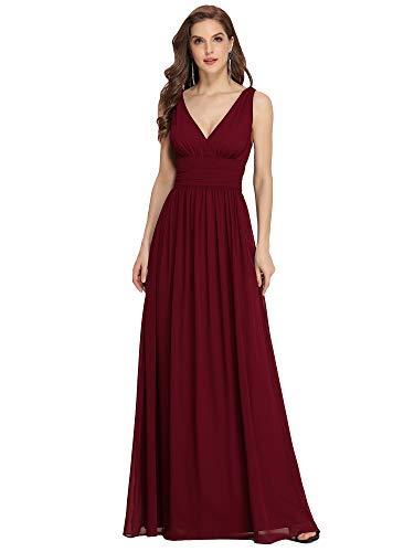 Ever-Pretty Vestito da Sera Donna Linea ad A Stile Impero Chiffon Scollo a V Senza Maniche Borgogna 36