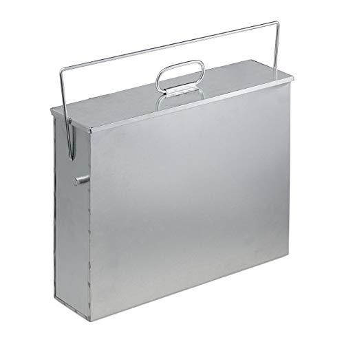 Relaxdays Ascheeimer eckig, Aschekasten mit Deckel, 15 l, verzinkter Stahl, Aschebehälter für Kamin, Grill, Ofen, silber