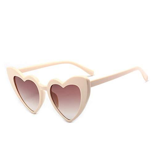 ZZOW Moda Única con Forma De Corazón De Amor para Mujer, Gafas De Sol Transparentes con Lente Degradada, Gafas De Sol De Tendencia para Mujer, Sombras Uv400