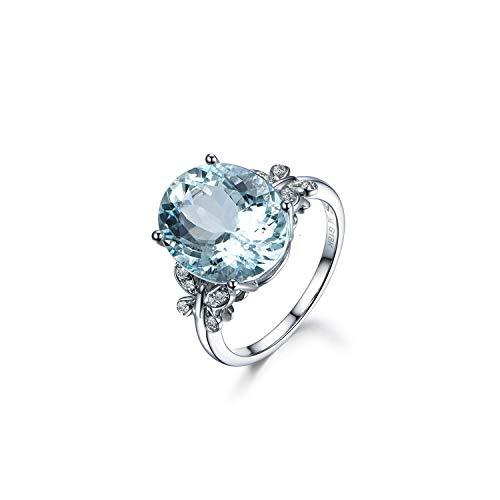 QIAOQIAO Zilveren 925 Sieraden Ring Aquamarijn Trendy Party 925 Sterling zilveren ringen Sieraden Vrouw Bruiloft Party Cadeau, 7,Blauw