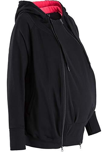 Umstands-Sweatjacke Schwangere Sweatshirtjacke mit Babytasche schwarz (48/50)