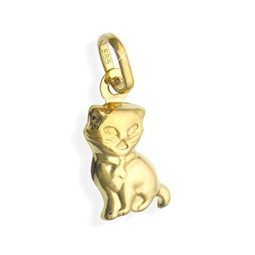 Kleine Katze Charms Anhänger 14 Karat Gold 585 (Art.206128)