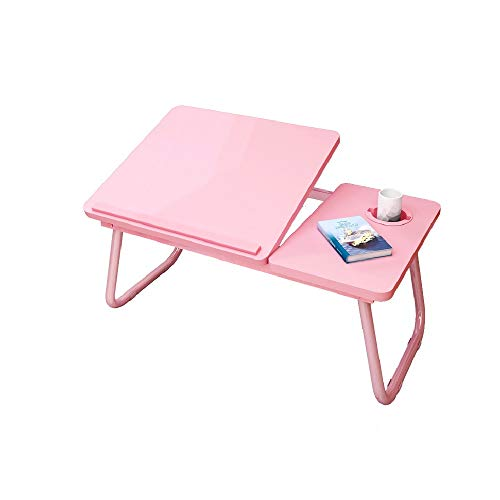 Folding computer desk on bed Multi-angle Adjustable Panel Folding Standing Laptop Desk,Multi-Function Portable Laptop Bed Tray Table,With Cup Slot/Tablet Slot Lazy Learning Laptop Desk,small Dining Ta