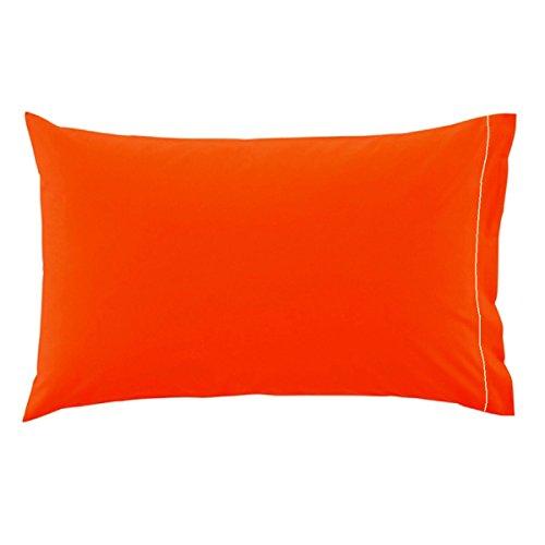 STORE SORRENTO Coppia di Federe per Cuscino Guanciale 100% Puro Cotone Tinta Unita Irge (Arancio)