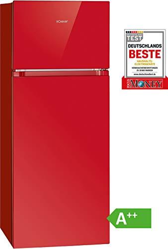 Bomann DT 7318 Doppeltür-Kühlschrank / A++ / 143.4 cm Höhe / 170 kWh/Jahr / Kühlen 164 Liter / Gefrieren 41 Liter / rot