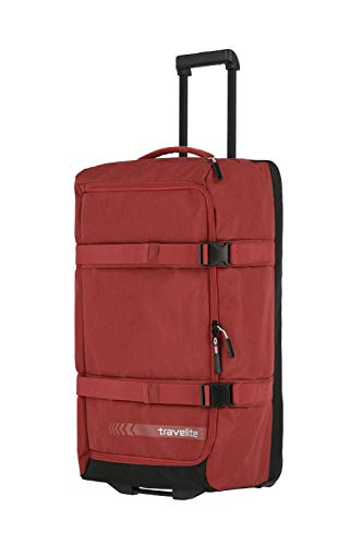 travelite Trolley Reisetasche Größe L, Gepäck Serie KICK OFF: Praktische Reisetasche mit Rollen für Urlaub und Sport, 006910-10, 68 cm, 65 Liter, rot
