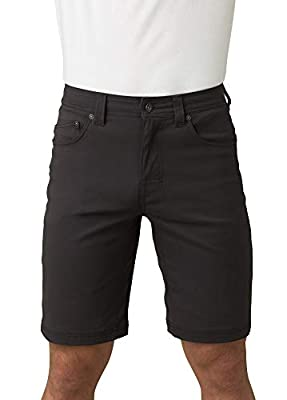 """prAna - Men's Brion Lightweight, Water-Repellent, Moisture-Wicking Shorts for Climbing and Everyday Wear, 9"""" Inseam, Charcoal, 33"""