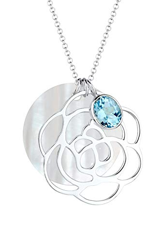 Elli Halskette Damen Blume Perlmuttscheibe mit Topas Edelstein in 925 Sterling Silber