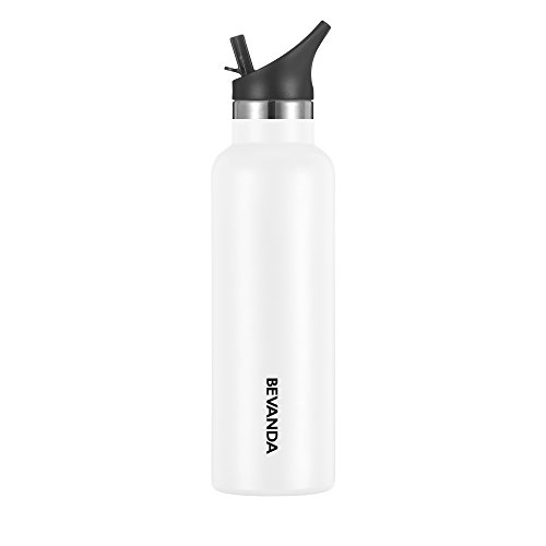 Bevanda 20 oz Sports Water Bottle Straw Cap - Double Walled Vacuum Insulated Water Bottle & Thermos Shatterproof Stainless Steel, Sports Water Bottle - All Sports And Leak-proof - White