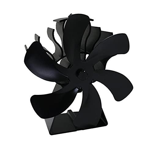 Holzofenventilator 6 Flügel, wärmebetriebener Kaminventilator Aluminiumofenventilator Aluminium leise umweltfreundlich für Holzofen, Gasofen, Pelletofen und mehr(Schwarz)