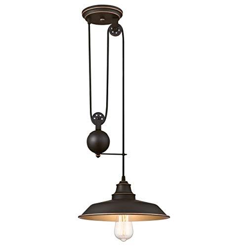 63632 Einflammige Pendelleuchte für den Innenbereich, Ausführung in geölter Bronze mit Akzenten