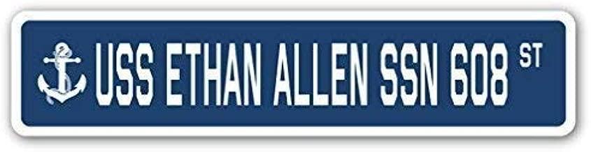 Tin Sign 16x4 Inches Funny Decorative Signs USS Ethan Allen SSN 608 Street Sign Navy Ship Veteran Sailor Vet USN Gift Metal Aluminum Sign for Garages, Livingroom