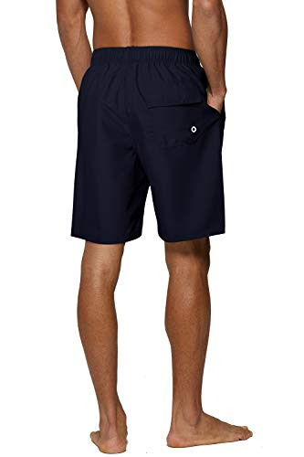 SILKWORLD Men's 2 Pack Swim Trunks Quick Dry Beach Boardshorts Classic Length