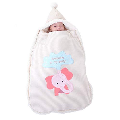 JSIHENA Baby Schlafsack warm gefüttert Winter Langarm Winterschlafsack Anti-plötzlicher Lammfellschlafsack neugeborener halten Herbst- und Winterfarbbaumwoll Versorgungssorgfalt,Elephant
