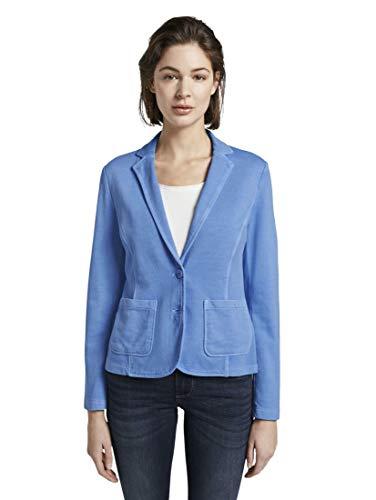 TOM TAILOR Damen Blazer & Sakko Sweat-Blazer mit Farbwaschung sea Blue,XL