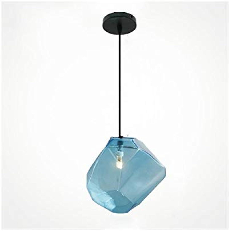 SCH Einzelkopf Kronleuchter Farbe Glas Stein Kronleuchter Persnlichkeit amerikanischen modernen minimalistischen europischen Stil Wohnzimmerbeleuchtung (Farbe   Blau-Large)