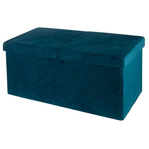 Baroni Home Cassapanca Pieghevole, Contenitore Portaoggetti, Pouf Poggiapiedi Velluto Blu Petrolio 76x38x38 cm